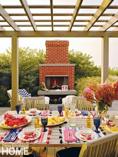 Outdoor Rooms, Outdoor Living, Nantucket Home, New England Homes, Brick Fireplace, Create Space, House And Home Magazine, Hearth, Backyard Landscaping