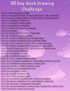 30 Day Geek Drawing Challenge  I shall do this too at my summer break