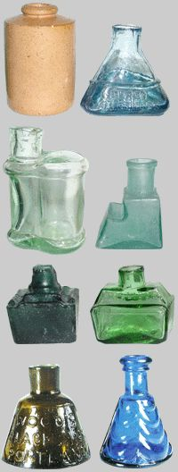 Antique ink well bottles These are perfect for woodland violets or small wild flowers.