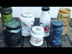 7 ideas for glass jars (english subtitles) Glass Jars, Mason Jars, Jar Crafts, Pillar Candles, Decoupage, Container, Bottle, English, Diy Things
