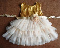 Or paillette robe de fille de fleur or paillette par SweetLilPosh