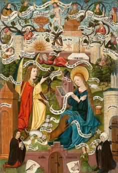 """""""The Annunciation. Hortus Conclusus"""". Oil, tempera on panel. 124 × 84 cm - Monogrammist AG Master of the Upper Rhine. Active in the Upper Rhine region, in the late 15th century"""