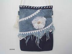ORIGAMI-TASCHE Damen Shopper Einkaufstasche Schultertasche grau Jeans im Leo-Look