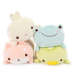 """Rabbit, Kappa, Shiba Inu, and Frog are all just large-sized cuties that want to be lovingly held! Each round plush from the Mocchiizu series has dimensions of 8.7"""" x 11"""" x 17.3"""" and sports rosy cheeks, doe eyes, and squishy bodies~!  #tokyootakumode #plushie"""
