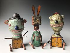 left to right: Neener, A Woman of Distinction, Good Boy Bad Boy. Monster Dolls, Mixed Media Artists, Ceramic Artists, Wall Sculptures, Figurative, Art Inspo, Puppets, Pastels, Art Dolls