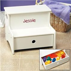 Step Stool with Bath Toy Storage Drawer from Lillian Vernon
