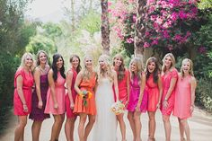 Pops of Pink and Purple - Mismatched Bridesmaid Dresses: Style Tips and 10 Best Combinations - EverAfterGuide