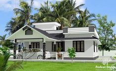 This BeautifulOne Storey Home Design has a ground floor area of 107 square meters and additional floor area would be the roof deck above. Porch is large enough to be a small garage when not in use… Single Floor House Design, Small House Design, Modern House Design, Beautiful House Plans, Beautiful Homes, One Storey House, Single Story Homes, Kerala House Design, Kerala Houses