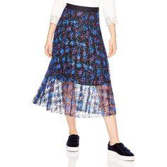 Sandro Roma Printed Lace Midi Skirt ($295) ❤ liked on Polyvore featuring skirts, multi, floral knee length skirt, lace pleated skirt, bohemian skirts, floral skirt and midi skirts