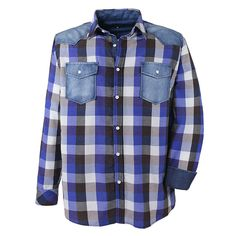 Herren Hemd XXL Lang Arm Royal Blau Jeans