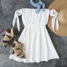 Sip on Sunshine Ivory - Schulterfreies Kleid - Hochzeitsgast Outfit Cute Dresses, Casual Dresses, Casual Outfits, Fashion Outfits, Fashion Clothes, Kohls Dresses, Women's Fashion, Stylish Clothes, Fashion Moda