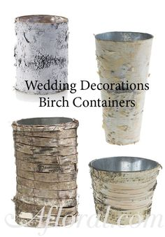 Rustic Wedding Centerpiece.  Use birch containers for your rustic wedding DIY centerpiece.  Fill with silk flowers and use a lace and burlap table runner to complete the look.  Find floral supplies, shop wedding flowers and wedding decorations at Afloral.com