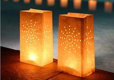 Bolsas de papel luminosas para decoración de bodas