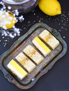 Ginger Turmeric Lemon Cream Bars (Free From: gluten & grains, dairy, nuts, added oils, and refined sugar)