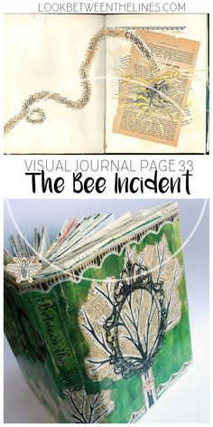 A visual page about trying to maintain my composure in front of a class of 35 students after being stung by a bee. Visual journal tips, techniques, and how tos are included. Altered Books, Altered Art, Visual Journals, Create Collage, High School Art, Journal Pages, Journal Ideas, Get To Know Me, Book Making