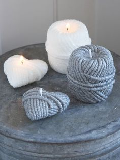 This wonderfully textured rope heart candle looks so real! Wine Candles, Unique Candles, Beautiful Candles, Best Candles, Scented Candles, Candle Art, Candle Lanterns, Bougie Candle, Chandeliers