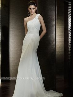 Simple White One Shoulder Chiffon Beach/Destination Wedding Dress With Zipper Up (MW3BDF)-LuckyDressShop.com