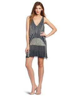 Parker Women's V-Neck Beaded Dress, Eclipse $191.86