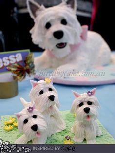 Inspired by Cake: Sweet little Westie Dogs Just too wonderful! Fondant Dog, Fondant Animals, Dog Cakes, Cupcake Cakes, Cupcakes, Dog Cake Topper, Cake Toppers, Biscuit, Pinterest Cake