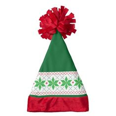 Santa hat with a green & red Nordic pattern is perfect to wear with your ugly sweater. #uglysweater #santahat