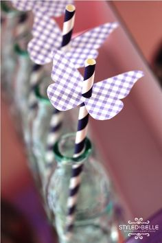 Butterfly party straws