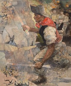 The Boulder Shivered, original illustration by Jerry Pinkney available at the R.Michelson Galleries