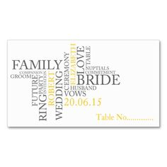 Yellow Gray Love Wording Table Escort Business Card Templates