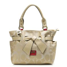 fashion beautiful Coach Poppy Bowknot Signature Medium Khaki TotesAND