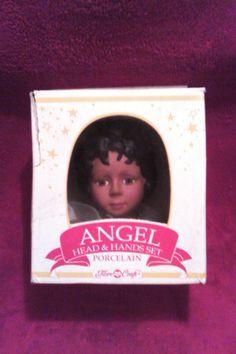 Fibre Craft African American Angel Porcelain Head Hands Set Black Hair Doll