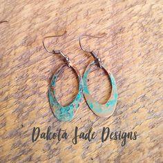 Smaller Patina Earrings. Boho Earrings, Small Earrings, Teardrop Earrings, Earrings, Boho Earrings, Bohemian Earrings, Turquoise, Copper