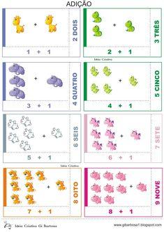 Matemática Infantil: Flash Cards para trabalhar Adição Animais fofos