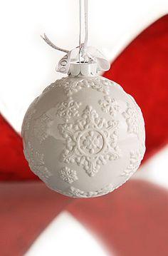 Wedgwood White Snowflake Ball Ornament