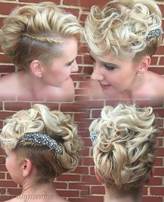 bridal curly pixie hairstyle