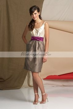 Straps A-line with bow embellishment taffeta bridesmaid dress