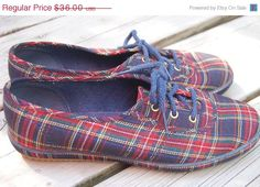 SALE Vintage Navy Plaid Preppy Canvas by MaidenhairVintage on Etsy, $28.00