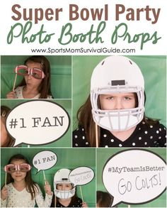 Super Bowl Photo Booth Party Prop Printables. See more kid-friendly Super Bowl ideas on www.prettymyparty.com.