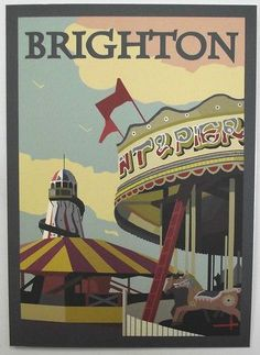 Buy Brighton Pier/Carousel poster By Peter Spells now. Highest quality prints with handcrafted framing option, designe Posters Uk, Railway Posters, Poster Ads, Brighton Rock, Brighton And Hove, Vintage Travel Posters, Poster Vintage, British Seaside, British Isles