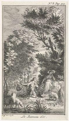Simon Fokke | Schaapherder knielt voor herderin, Simon Fokke, 1722 - 1784 | Illustratie uit het sprookje Le Rameau d'or van Mme d'Aulnoy. Een schaapherder knielt voor een herderin die op een steen aan het rusten is. Op de voorgrond loopt een aantal schapen. Prent rechtsboven gemerkt: No. 8. Pag. 303.