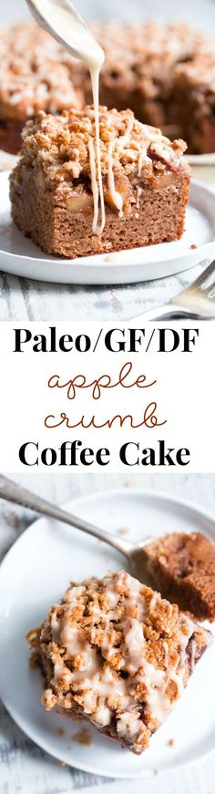 Cinnamon Apple Coffee Cake (Paleo) This paleo cinnamon apple coffee cake has it all! Perfectly moist grain free dairy free coffee cake topped with a layer of homemade apple pie filling and a crumble top. It's one of my favorites for fall baking and I kno Paleo Dessert, Paleo Sweets, Gluten Free Sweets, Gluten Free Baking, Dairy Free Recipes, Paleo Food, Keto Recipes, Cake Recipes, Crumb Coffee Cakes