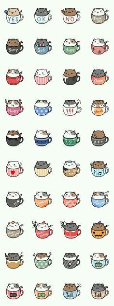 Neko cat kitty coffee mug tea mug kawaii Nian café ❤ melhor lugar Chat Kawaii, Arte Do Kawaii, Kawaii Cat, Kawaii Stuff, Kawaii Things To Draw, Kawaii Names, Kawaii Chibi, Cute Chibi, Anime Pokemon