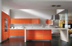 scavolini Orange Kitchen herringbone wood tile