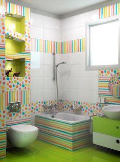 Na hora de decorar o banheiro infantil devemos levar em conta a criatividade e funcionalidade! O uso de pastilhas, cubas e tapetes c...