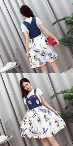 summer 17 Korean version new simple backing T-shirt +  stitching satin printed embroidery suspender dress two pieces suit fem