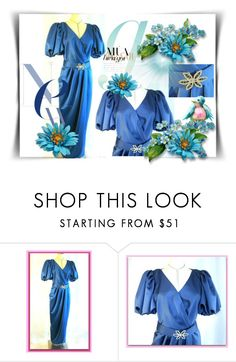 """""""Beautiful vintage royal blue satin gown"""" by dragonflyadele ❤ liked on Polyvore featuring vintage, etsy, etsyfru, etsyevolution and FriendsRUs"""