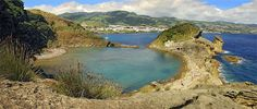 Ilheu da Vila Franca do Campo - Vila Franca do Campo, Acores  This is shot from the island just off Vila Franco, Sao Miguel, Azores. A 20 minute boat ride from the town of Vila Franco is in the background. Photograph by Bruce Christianson