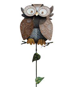 Pearsonu0027s Simply Primitives Brown Eyed Owl Garden Stake