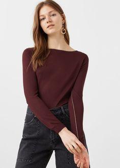 Contrast trim sweater -  Women   MANGO USA