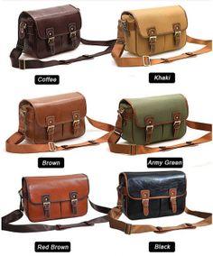 Large Handmade DSLR/SLR Camera Leather Canvas Bag in 6 Color Ways