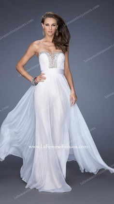 White Deep Sweetheart Plunging Iridescent Prom Gown by La Femme