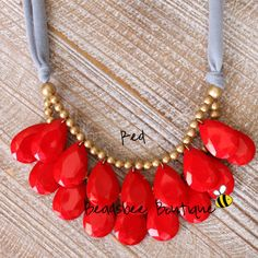 Anthropologie Red Necklace Bib Necklace Red by BeadsbeeBoutique